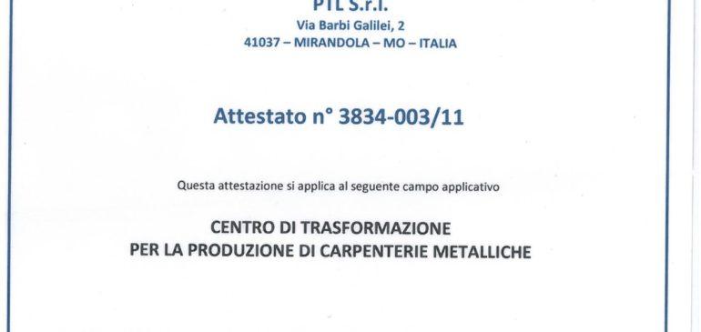 Attestato 3834