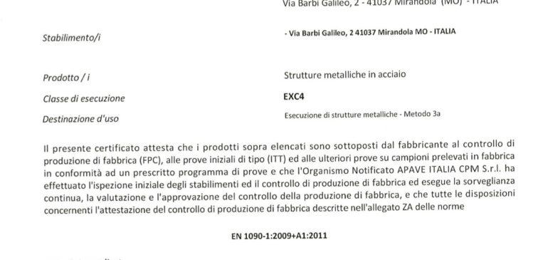 Certificato 1090 EXC4