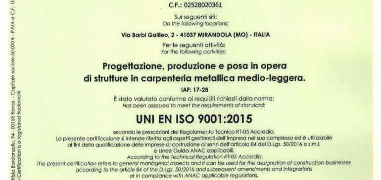 Certificato 9001-2015
